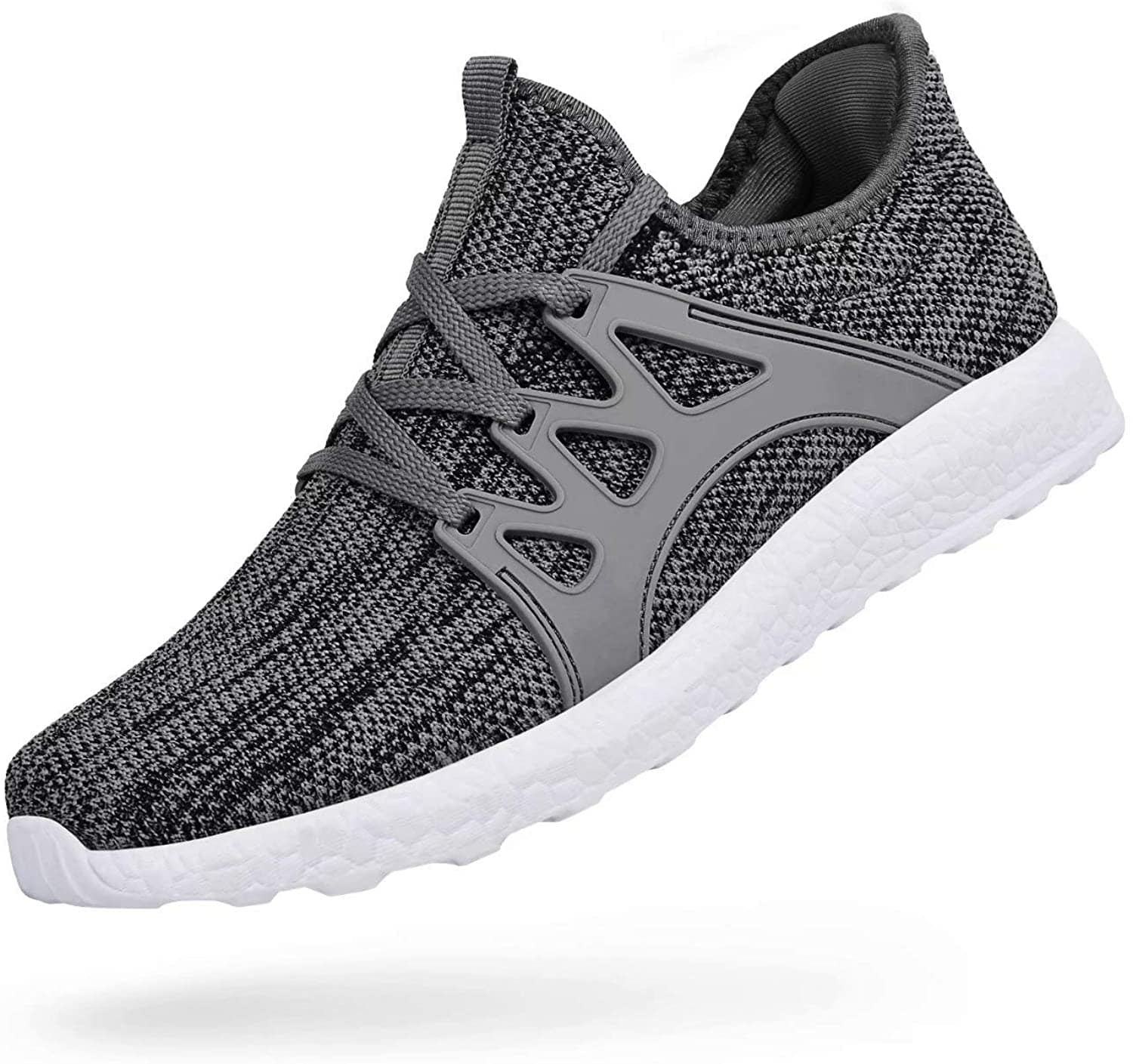 DAILYHAUTE MEN'S SHOES GREY / 7.5 Braveman Men's Lace-Up Knit Running Shoes Athleisure Sneakers