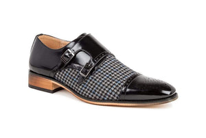 DAILYHAUTE MEN'S SHOES Black / 7.5 Gino Vitale Double Monk Strap Houndstooth Medallion Cap Toe Dress Shoes