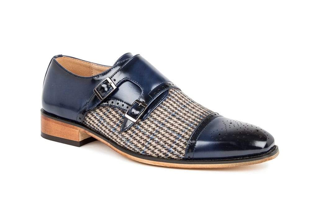 DAILYHAUTE MEN'S SHOES Blue / 7.5 Gino Vitale Double Monk Strap Houndstooth Medallion Cap Toe Dress Shoes