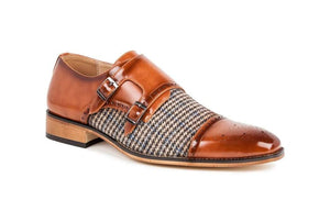 DAILYHAUTE MEN'S SHOES Brown / 7.5 Gino Vitale Double Monk Strap Houndstooth Medallion Cap Toe Dress Shoes