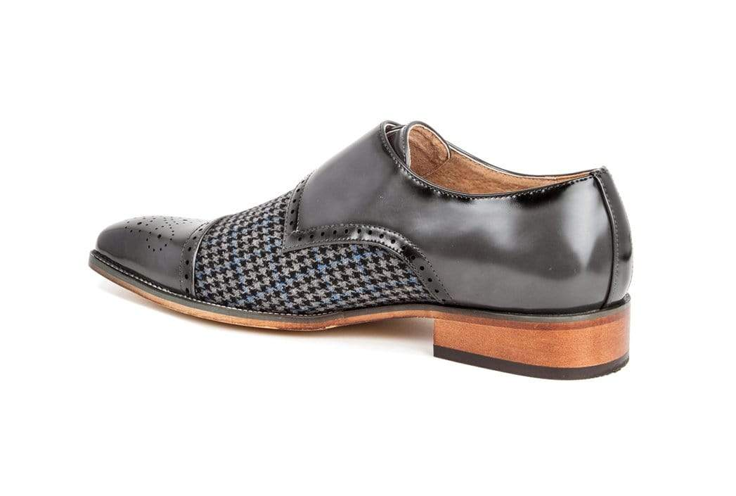 DAILYHAUTE MEN'S SHOES Gino Vitale Double Monk Strap Houndstooth Medallion Cap Toe Dress Shoes