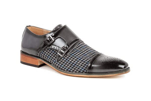DAILYHAUTE MEN'S SHOES Gray / 7.5 Gino Vitale Double Monk Strap Houndstooth Medallion Cap Toe Dress Shoes