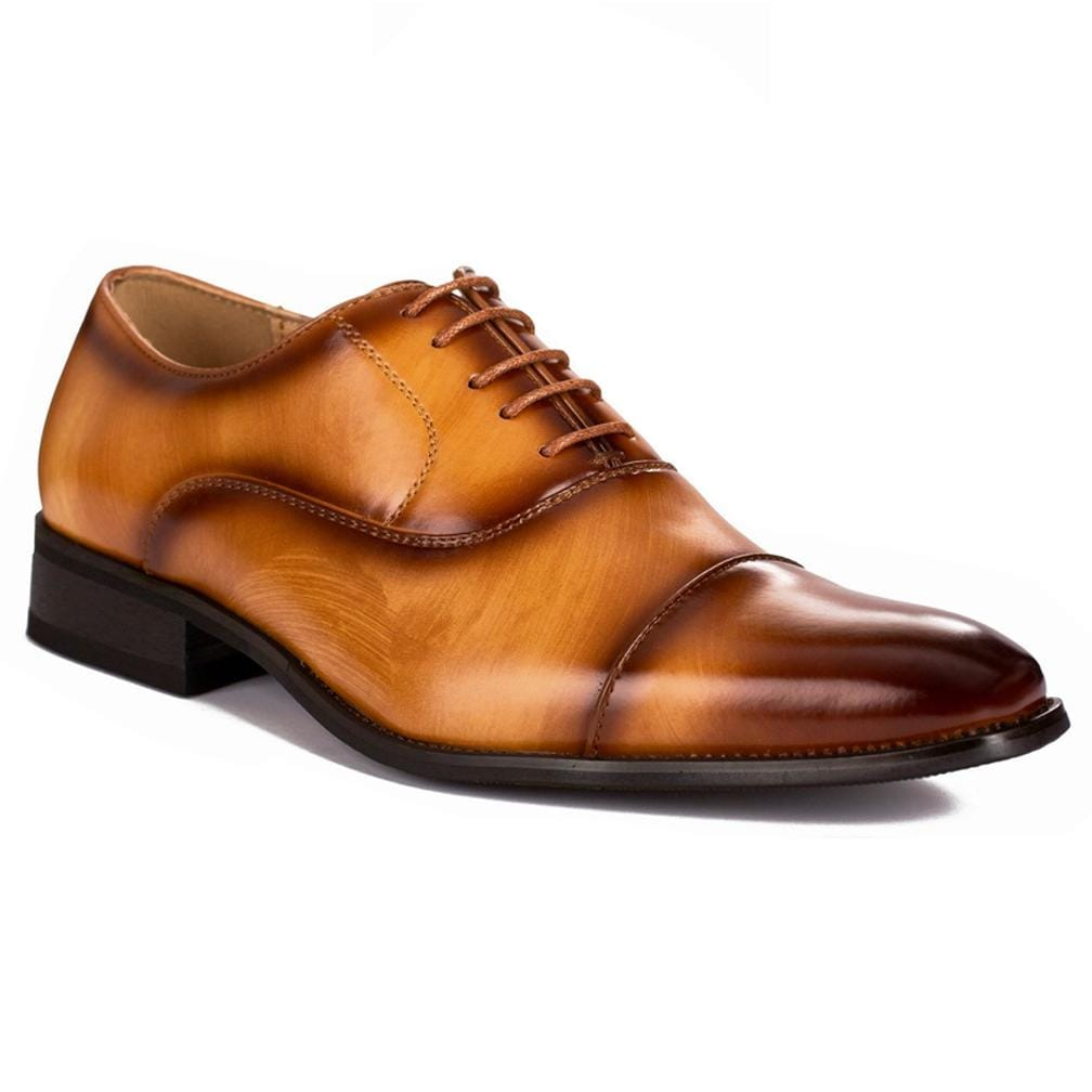 DAILYHAUTE MEN'S SHOES Brown / 7.5 Gino Vitale Lace-up Cap Toe Dress Shoes