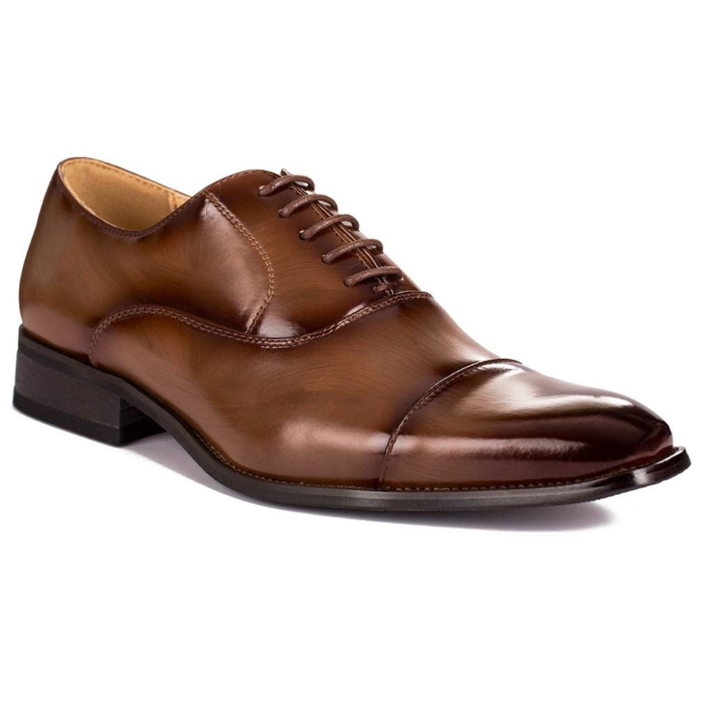DAILYHAUTE MEN'S SHOES Dark Brown / 7.5 Gino Vitale Lace-up Cap Toe Dress Shoes