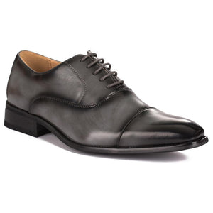 DAILYHAUTE MEN'S SHOES Grey / 7.5 Gino Vitale Lace-up Cap Toe Dress Shoes