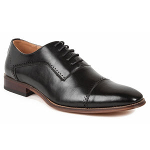 DAILYHAUTE MEN'S SHOES BLACK / 7.5 Gino Vitale Men's Cap Toe Oxford Shoes