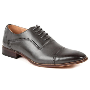 DAILYHAUTE MEN'S SHOES GREY / 7.5 Gino Vitale Men's Cap Toe Oxford Shoes
