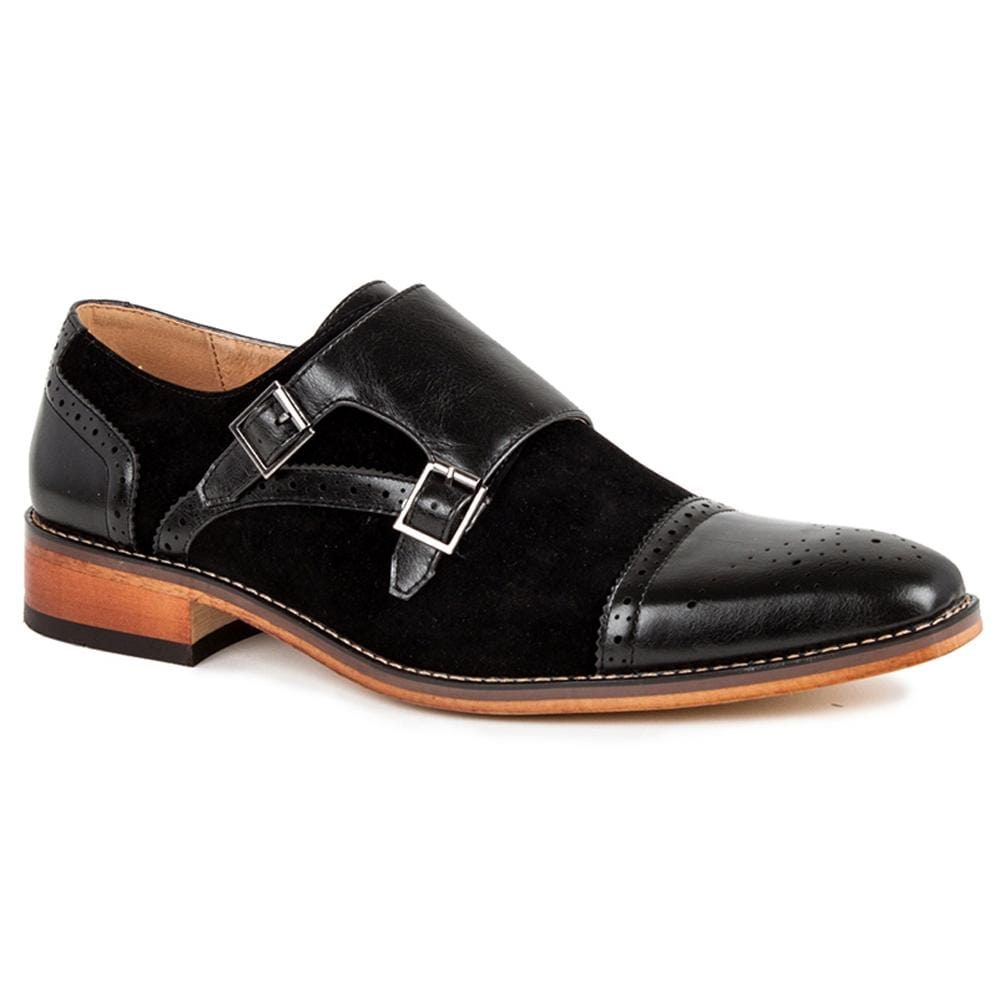 DAILYHAUTE MEN'S SHOES Black / 7.5 Gino Vitale Men's Double Monk Strap Two-Tone Loafer