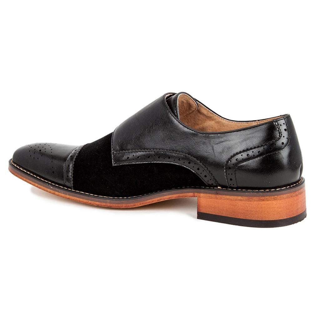 DAILYHAUTE MEN'S SHOES Gino Vitale Men's Double Monk Strap Two-Tone Loafer