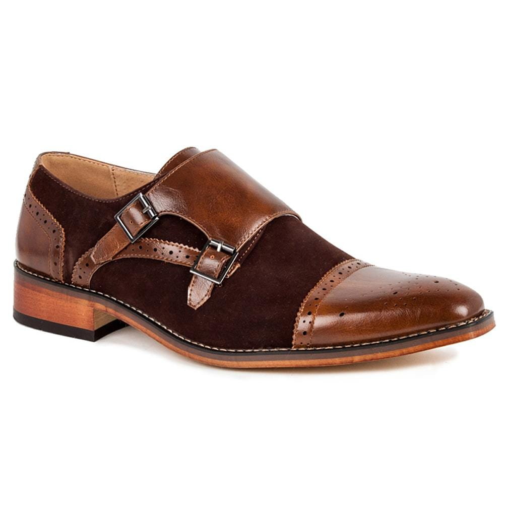 DAILYHAUTE MEN'S SHOES Dark Brown/Dark Brown / 7.5 Gino Vitale Men's Double Monk Strap Two-Tone Loafer