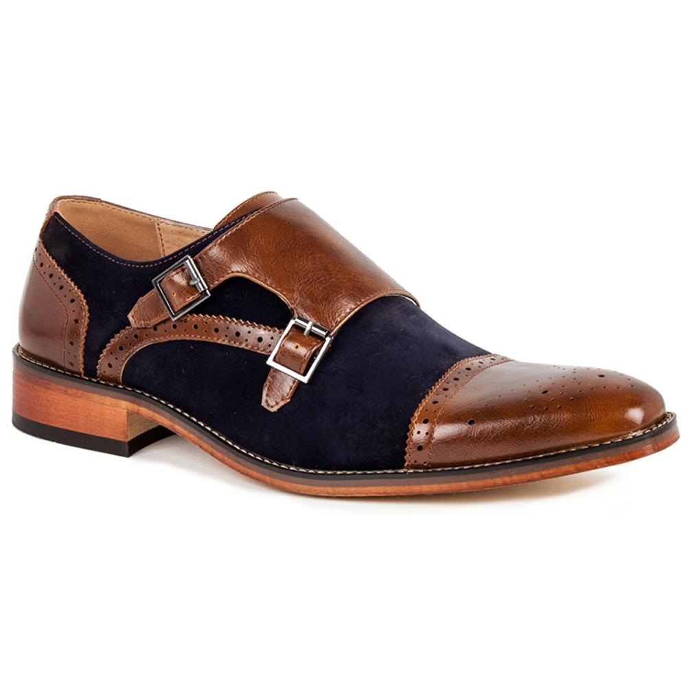 DAILYHAUTE MEN'S SHOES Dark Brown/Navy / 7.5 Gino Vitale Men's Double Monk Strap Two-Tone Loafer