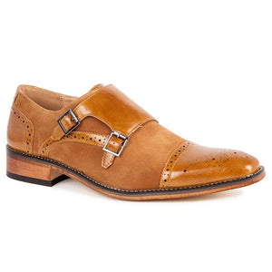 DAILYHAUTE MEN'S SHOES TAN/TAN / 7.5 Gino Vitale Men's Double Monk Strap Two-Tone Loafer