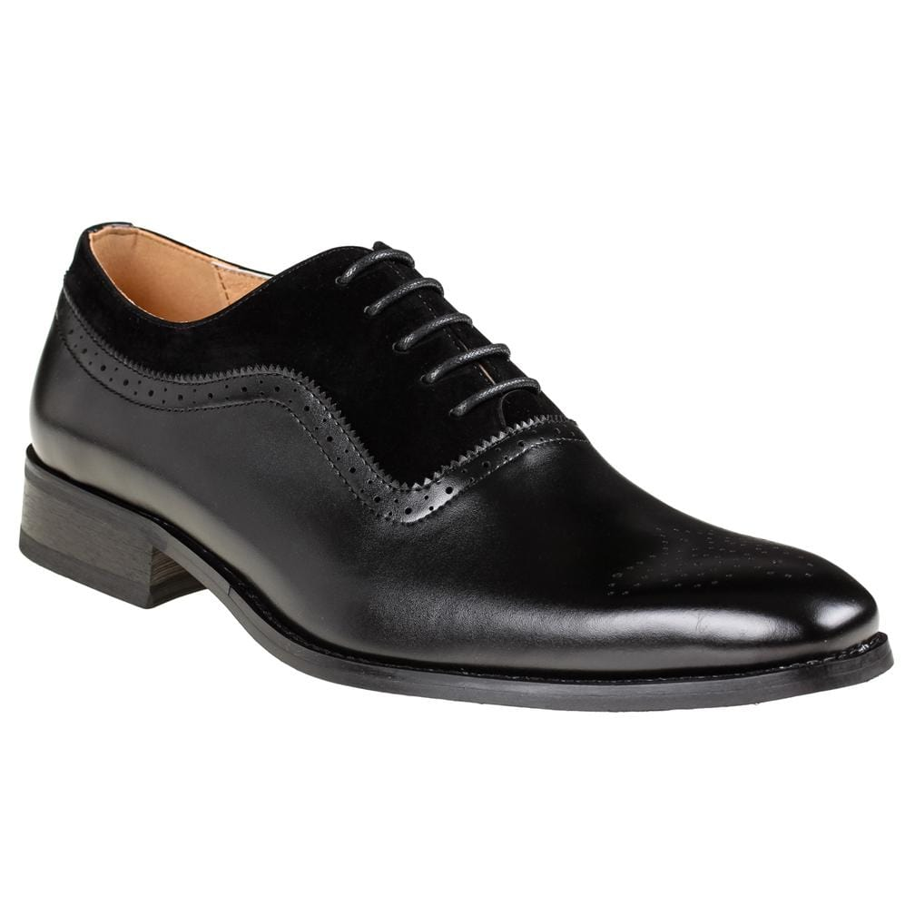 DAILYHAUTE MEN'S SHOES BLACK/BLACK / 7.5 Gino Vitale Men's Lace Up Medallion Toe Dress Shoes