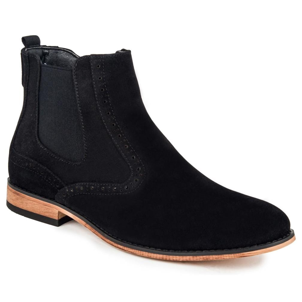 DAILYHAUTE MEN'S SHOES Black / 7.5 Gino Vitale Men's Lounge Chelsea Boots with Zip