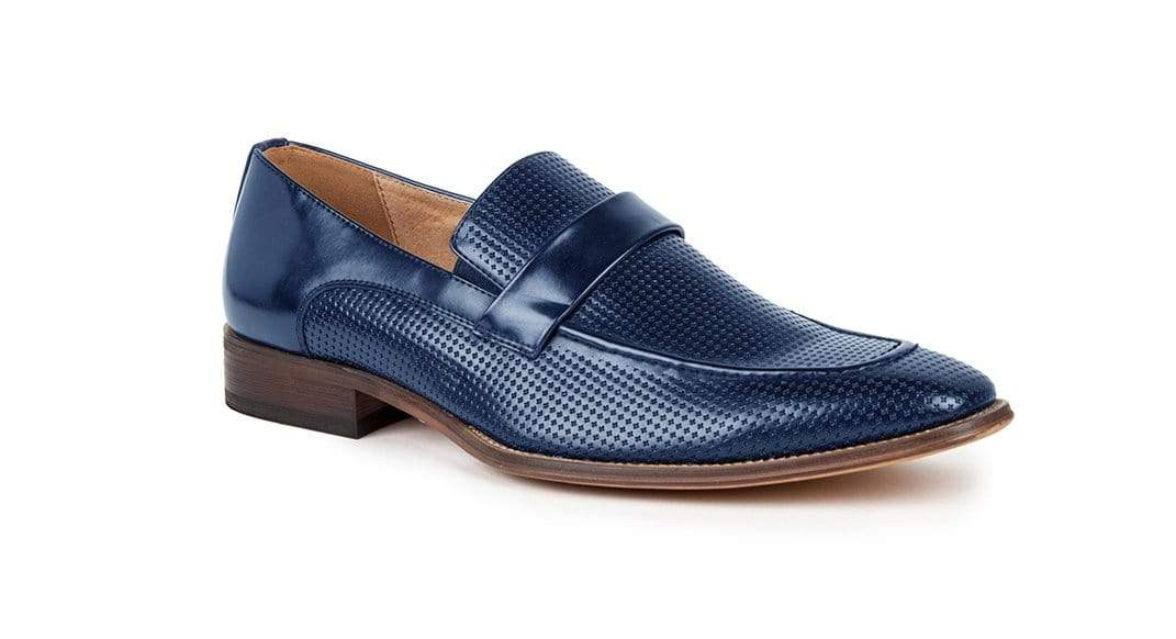 DAILYHAUTE MEN'S SHOES BLUE / 7.5 Gino vitale Men's Moc Toe Slip-on Dress Loafers
