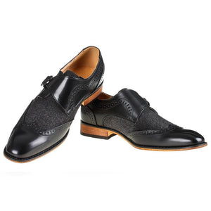 DAILYHAUTE MEN'S SHOES Black / 7.5 Gino Vitale Men's Monk Strap Herringbone Dress Shoes