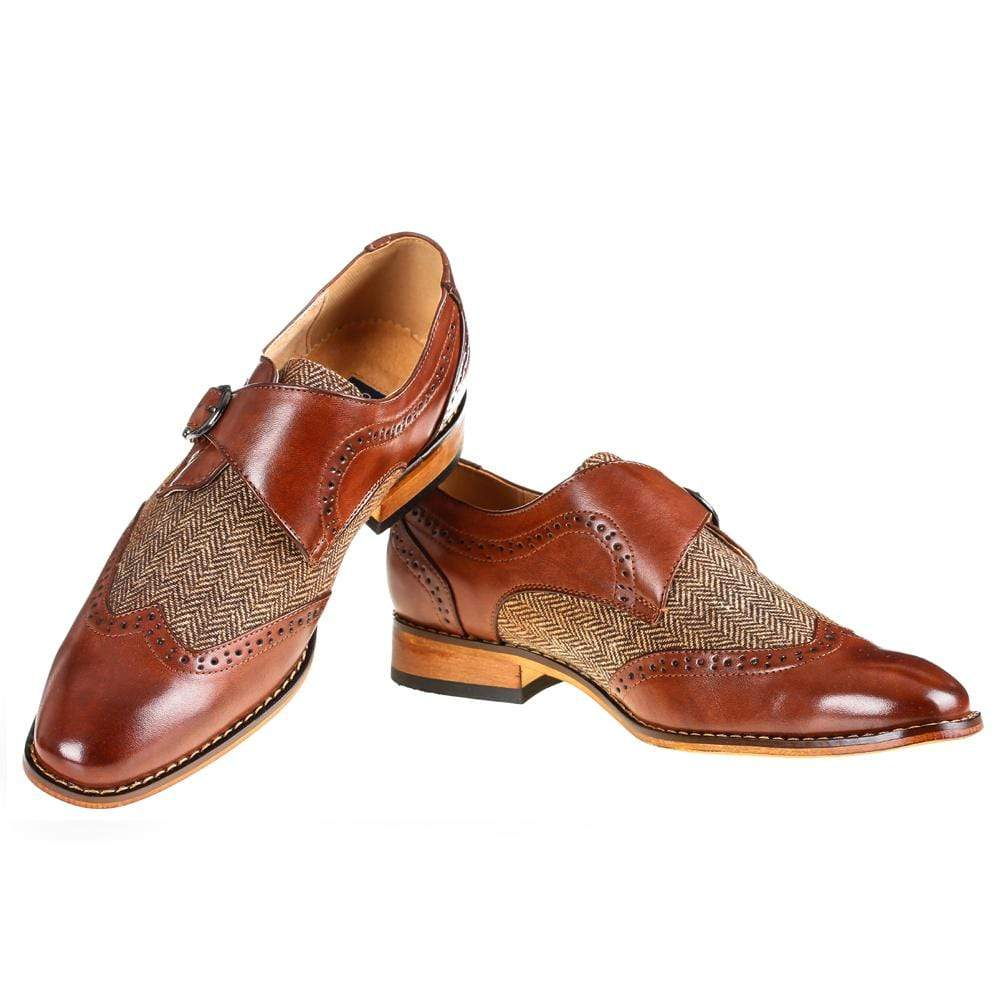 DAILYHAUTE MEN'S SHOES Brown / 7.5 Gino Vitale Men's Monk Strap Herringbone Dress Shoes