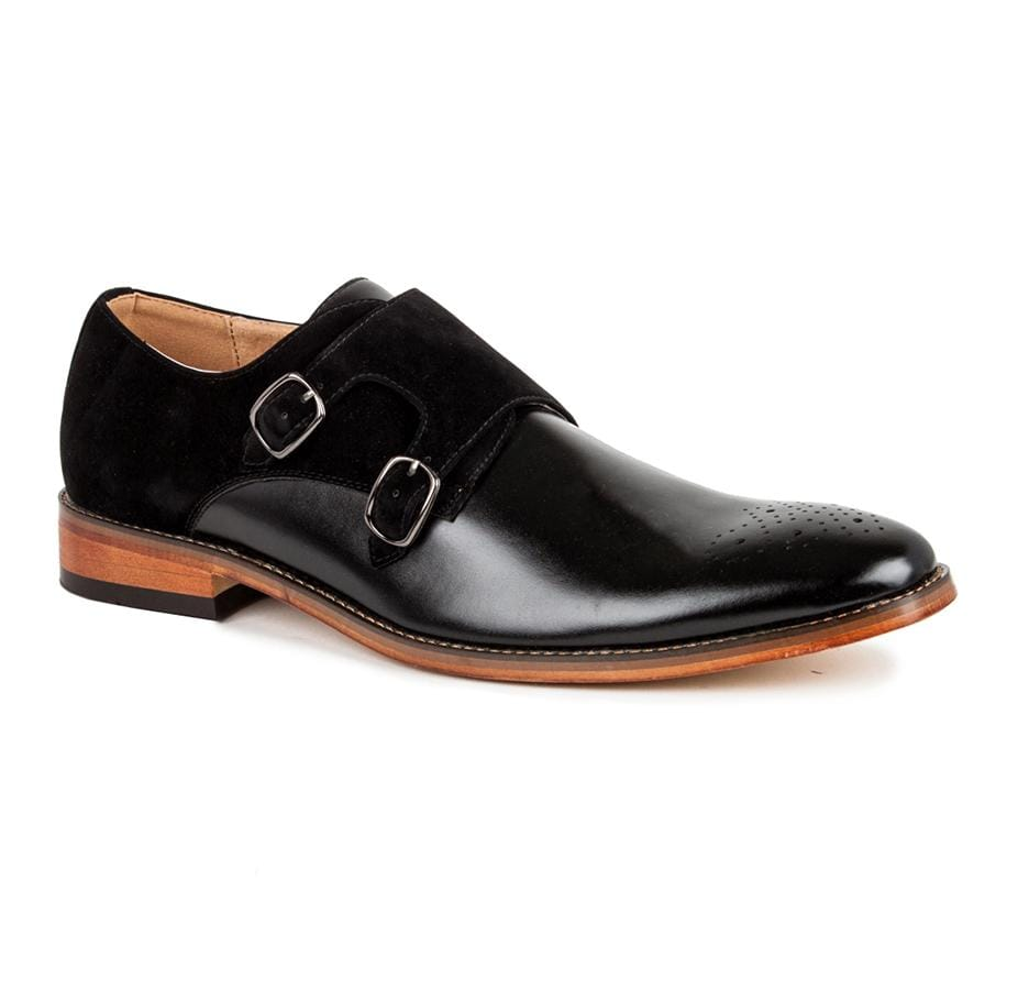 DAILYHAUTE MEN'S SHOES BLACK/BLACK / 7.5 Gino Vitale Men's Monk Strap Two-tone Loafer