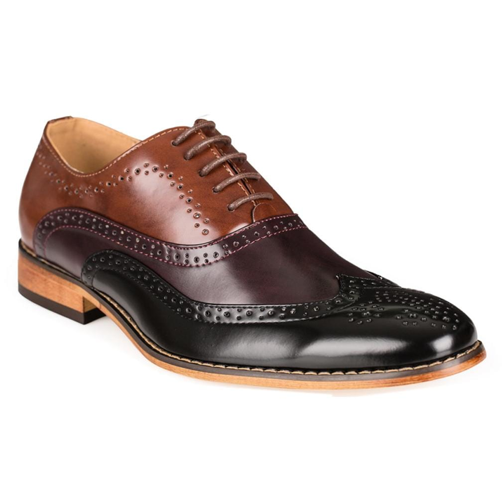 DAILYHAUTE MEN'S SHOES BLACK/WINE/BROWN / 7.5 Gino Vitale Men's Three Tone Lace-up Dress Shoes
