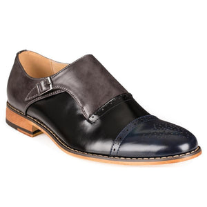 DAILYHAUTE MEN'S SHOES BLACK/GREY/NAVY / 7.5 Gino Vitale Men's Three Tone Monk Strap Dress Shoes