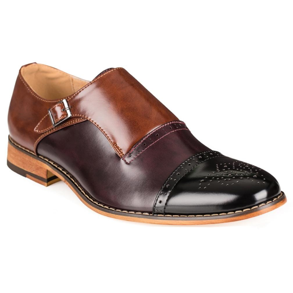 DAILYHAUTE MEN'S SHOES BLACK/WINE/BROWN / 7.5 Gino Vitale Men's Three Tone Monk Strap Dress Shoes