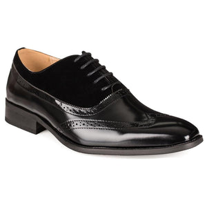 DAILYHAUTE MEN'S SHOES BLACK/BLACK / 7.5 Gino Vitale Men's Two Tone Wing Tip Dress Shoes