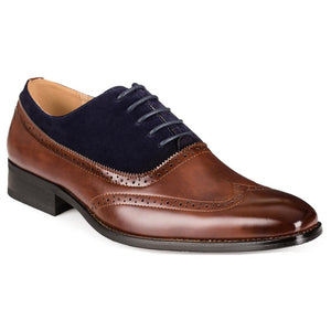 DAILYHAUTE MEN'S SHOES BROWN/NAVY / 7.5 Gino Vitale Men's Two Tone Wing Tip Dress Shoes
