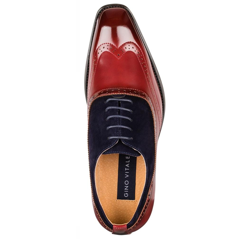 DAILYHAUTE MEN'S SHOES Gino Vitale Men's Two Tone Wing Tip Dress Shoes