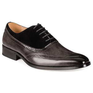 DAILYHAUTE MEN'S SHOES GREY/BLACK / 7.5 Gino Vitale Men's Two Tone Wing Tip Dress Shoes