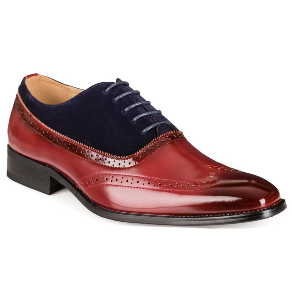 DAILYHAUTE MEN'S SHOES WINE/NAVY / 7.5 Gino Vitale Men's Two Tone Wing Tip Dress Shoes