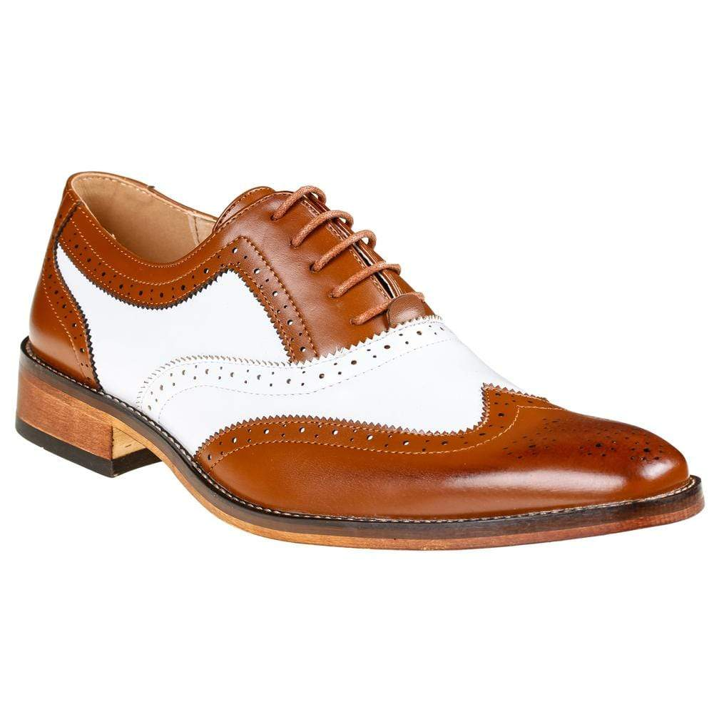 DAILYHAUTE MEN'S SHOES TAN/WHITE / 7.5 Gino Vitale Men's Two Tone Wing Tip Oxford Dress Shoes