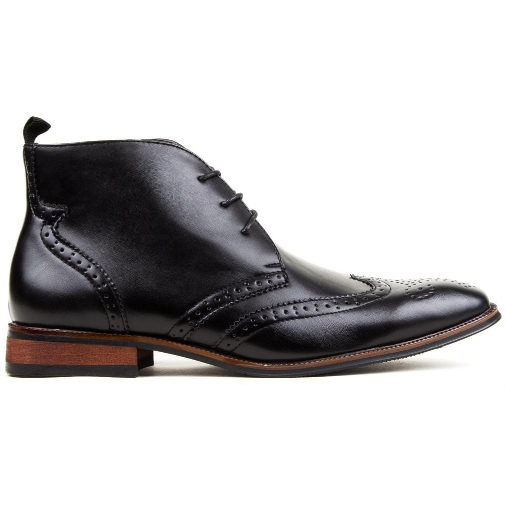 DAILYHAUTE MEN'S SHOES Black / 7.5 Gino Vitale Men's Wing Tip Brogue Boots