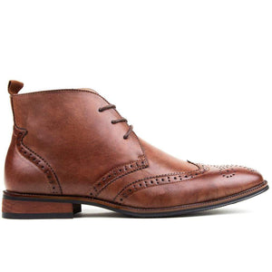 DAILYHAUTE MEN'S SHOES Brown / 7.5 Gino Vitale Men's Wing Tip Brogue Boots