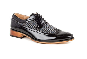 DAILYHAUTE MEN'S SHOES Black / 7.5 Gino Vitale Men's Wing Tip Brogue Two Tone Shoes