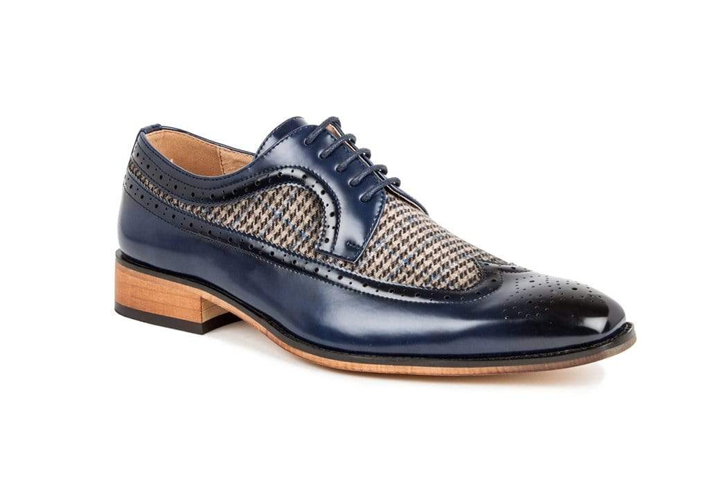 DAILYHAUTE MEN'S SHOES Blue / 7.5 Gino Vitale Men's Wing Tip Brogue Two Tone Shoes