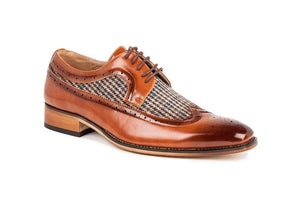 DAILYHAUTE MEN'S SHOES Brown / 7.5 Gino Vitale Men's Wing Tip Brogue Two Tone Shoes