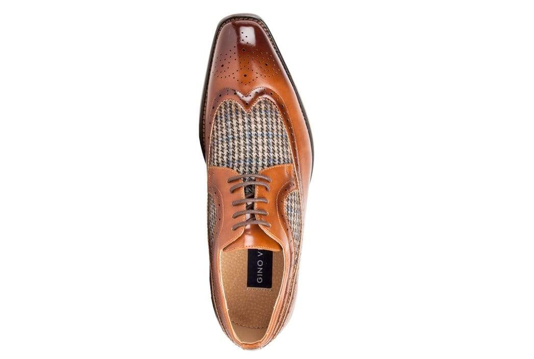 DAILYHAUTE MEN'S SHOES Gino Vitale Men's Wing Tip Brogue Two Tone Shoes