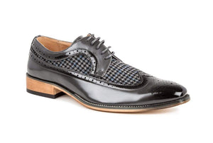DAILYHAUTE MEN'S SHOES Gray / 7.5 Gino Vitale Men's Wing Tip Brogue Two Tone Shoes
