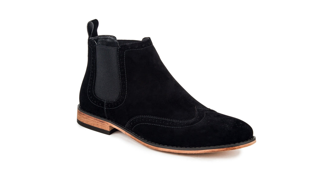 DAILYHAUTE MEN'S SHOES Black / 7.5 Gino Vitale Men's Wing Tip Chelsea Boots