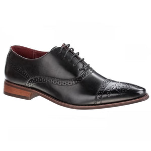 DAILYHAUTE MEN'S SHOES Black / 7.5 Signature Men's Brogue Cap Toe Dress Shoes