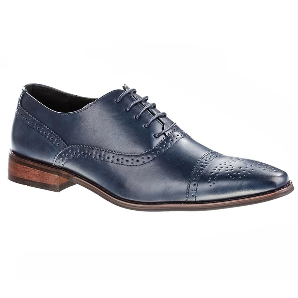 DAILYHAUTE MEN'S SHOES Blue / 7.5 Signature Men's Brogue Cap Toe Dress Shoes