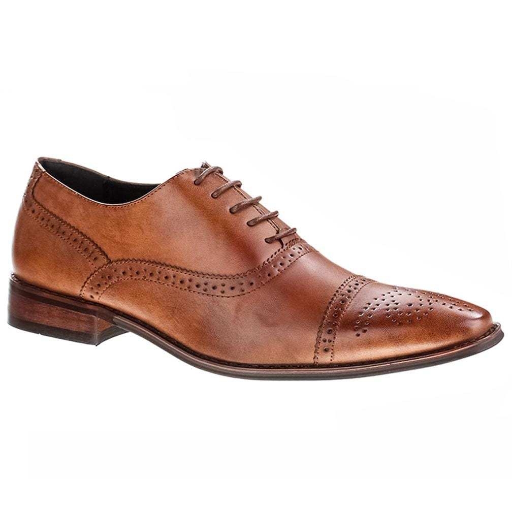 DAILYHAUTE MEN'S SHOES Brown / 7.5 Signature Men's Brogue Cap Toe Dress Shoes