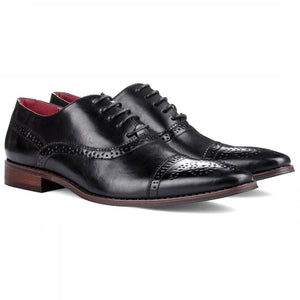 DAILYHAUTE MEN'S SHOES Signature Men's Brogue Cap Toe Dress Shoes
