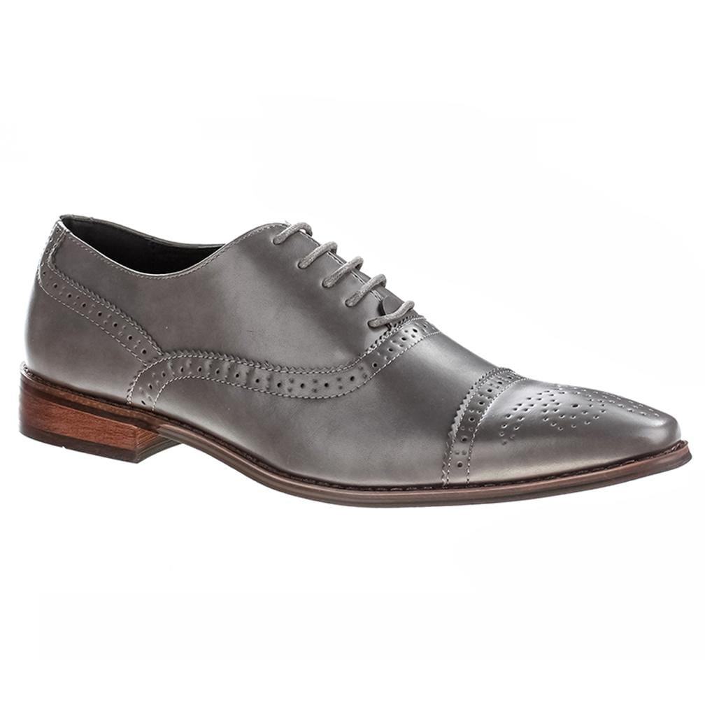 DAILYHAUTE MEN'S SHOES Gray / 7.5 Signature Men's Brogue Cap Toe Dress Shoes