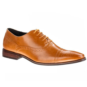DAILYHAUTE MEN'S SHOES Tan / 7.5 Signature Men's Brogue Cap Toe Dress Shoes