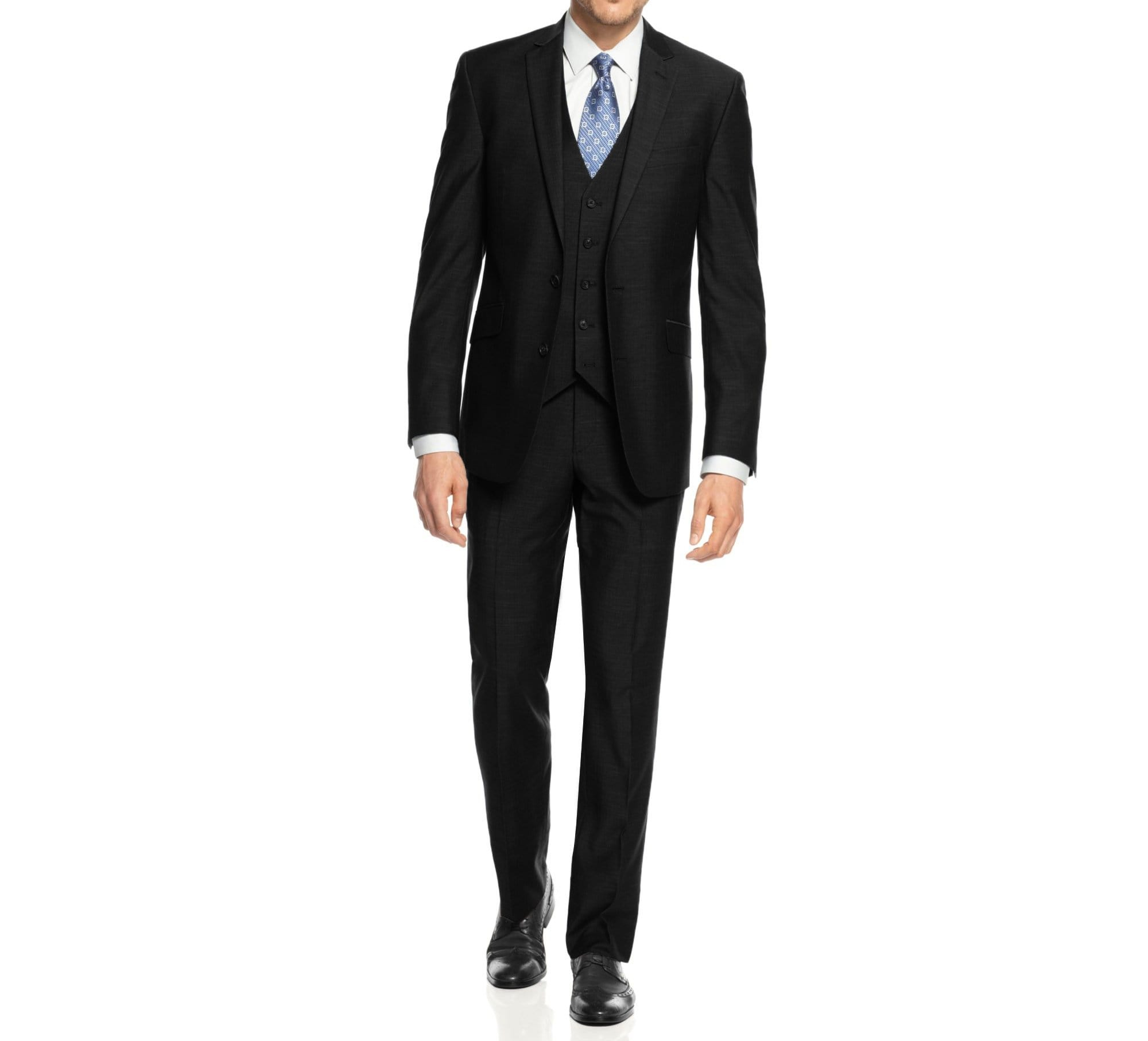 DAILY HAUTE Men's Suits BLACK / 36Rx30W Braveman Men's 3-Piece Three Piece Slim Fit Formal Cut Suit Set