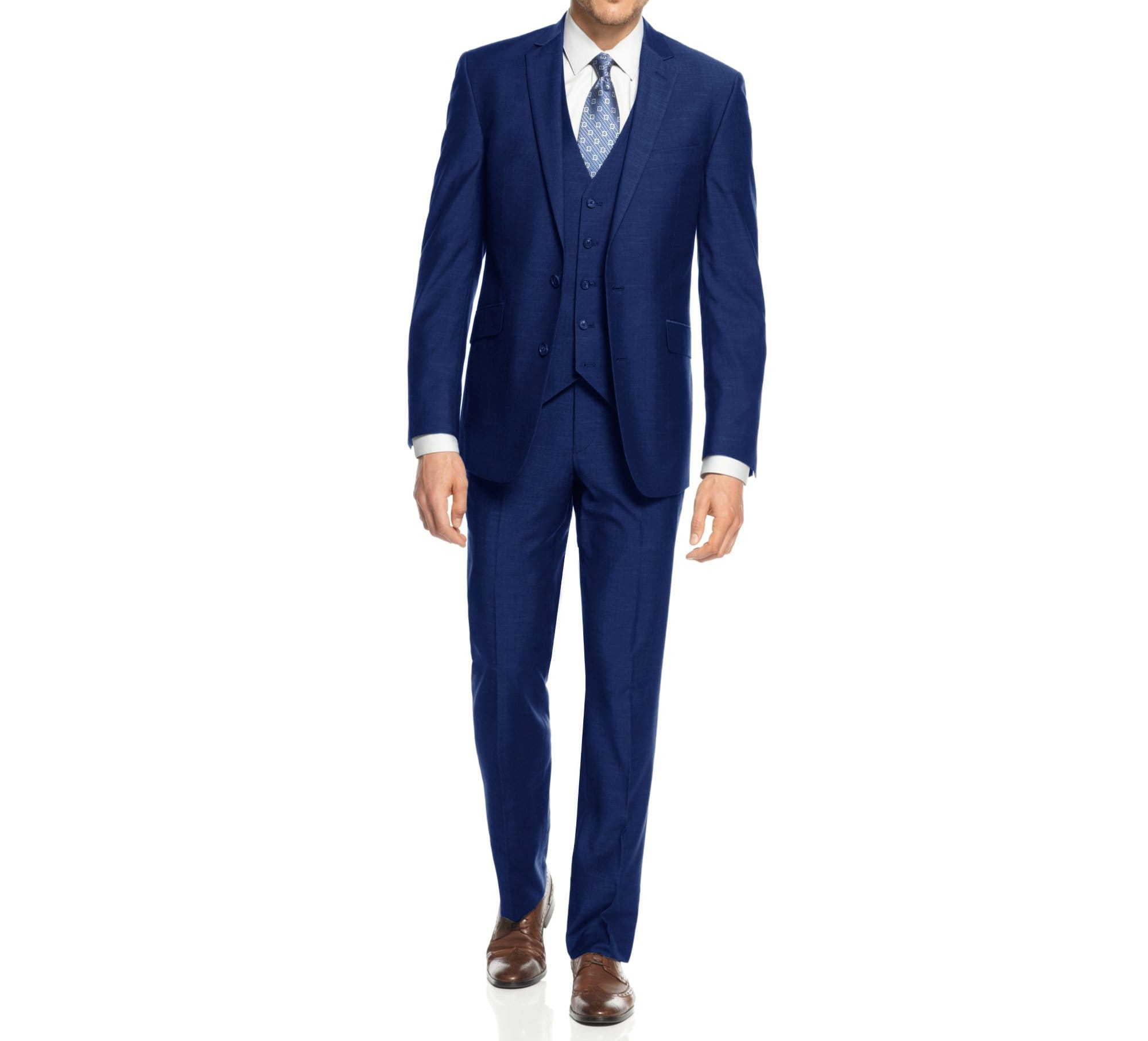 DAILY HAUTE Men's Suits BLUE / 36Rx30W Braveman Men's 3-Piece Three Piece Slim Fit Formal Cut Suit Set