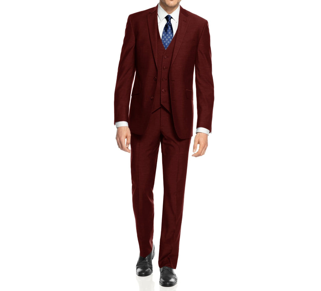 DAILY HAUTE Men's Suits BURGUNDY / 36Rx30W Braveman Men's 3-Piece Three Piece Slim Fit Formal Cut Suit Set