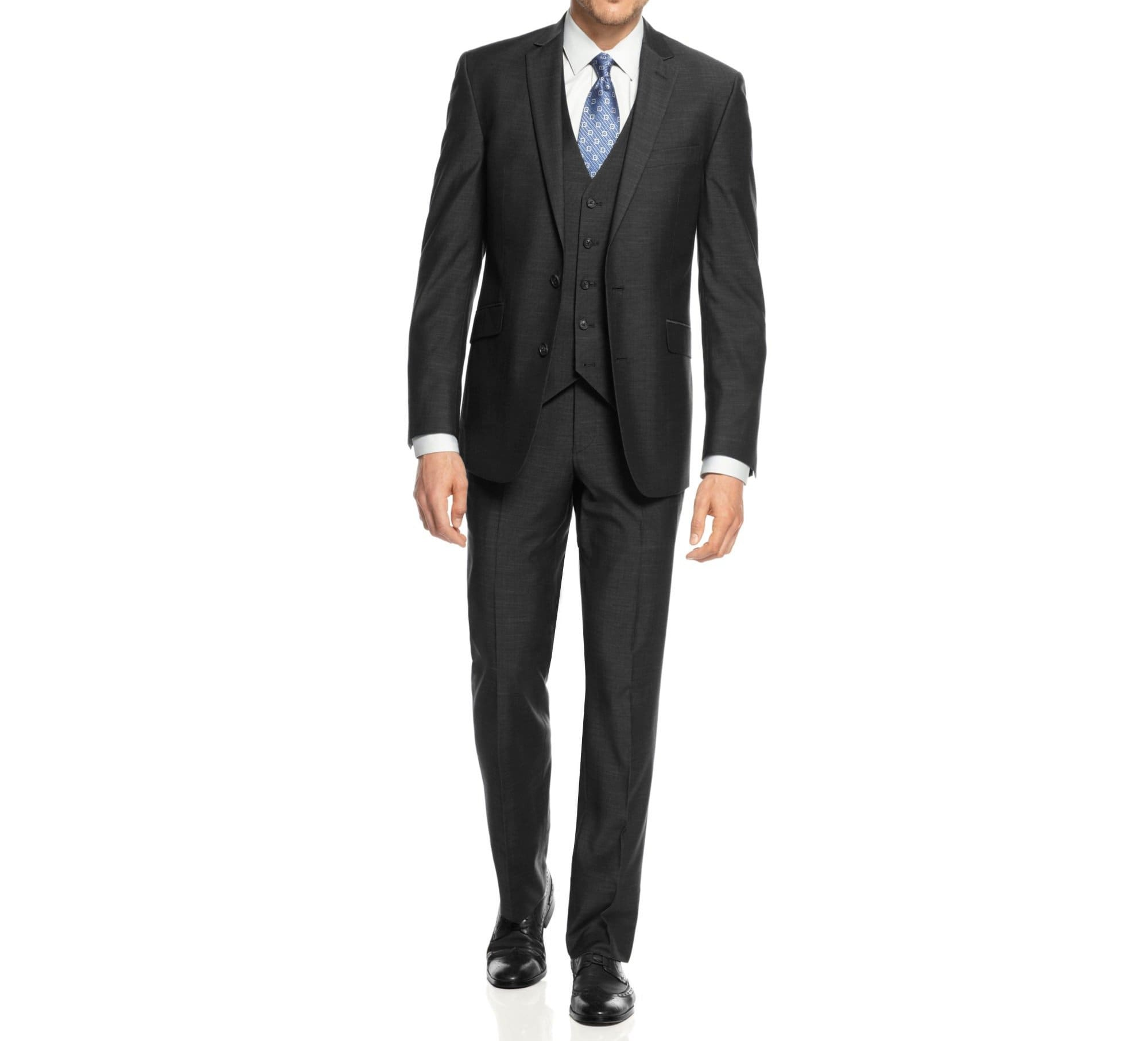 DAILY HAUTE Men's Suits CHARCOAL / 36Rx30W Braveman Men's 3-Piece Three Piece Slim Fit Formal Cut Suit Set