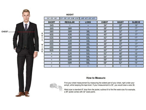 DAILY HAUTE Men's Suits Braveman Men's 3-Piece Three Piece Slim Fit Formal Cut Suit Set